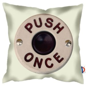 push-the-button-art-print-cushion